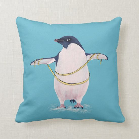 Cute Funny Fat Penguin On Diet Throw Pillow