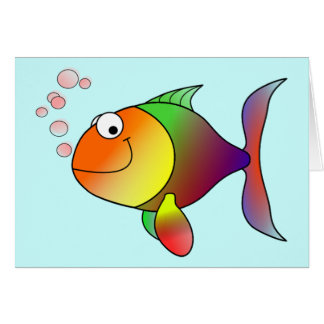 Cute Funny Fish - Colorful Card