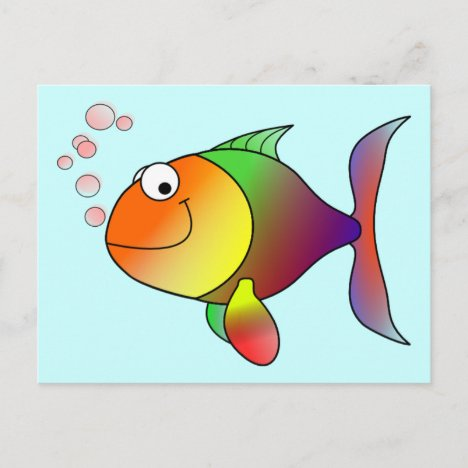 Cute Funny Fish - Colorful Postcard