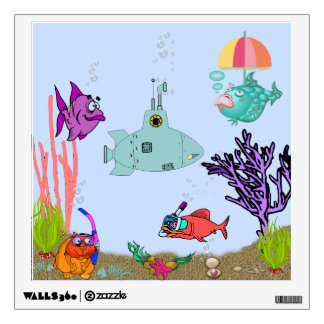 Cute Funny Fish, Sub, & Cat on Underwater Sq Decal