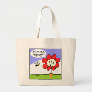 Cute Funny Flower and Bee Totebag Large Tote Bag