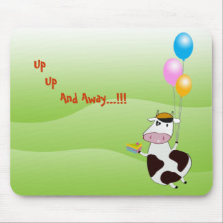 Cute Funny Flying Cow & Cake & Balloons Mousepad