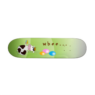 Cute Funny Flying Cow & Cake & Balloons Skateboard