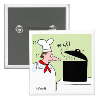 Cute Funny French Chef in Kitchen Cartoon Pinback Button