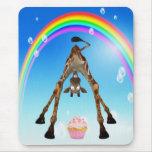 Cute, Funny Giraffe, Cupcake & Rainbow Mousepads