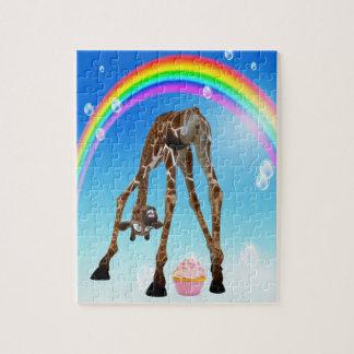 Cute, Funny Giraffe, Cupcake & Rainbow Puzzle