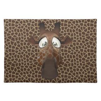 Cute Funny Giraffe Face Animal Fur Pattern Cloth Placemat