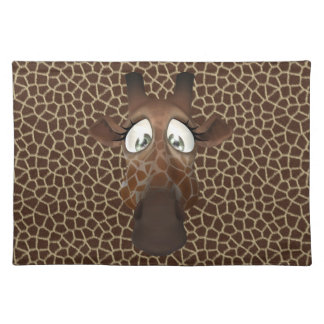 Cute Funny Giraffe Face Animal Fur Pattern Placemat