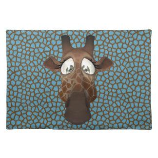 Cute Funny Giraffe Face Blue Animal Fur Pattern Cloth Placemat