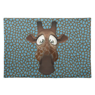 Cute Funny Giraffe Face Blue Animal Fur Pattern Placemat