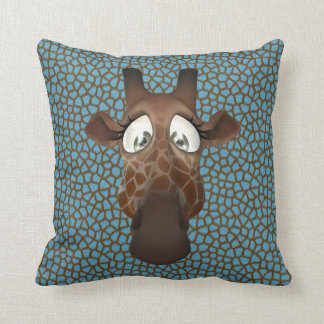 Cute Funny Giraffe Face Blue Animal Fur Pattern Throw Pillow