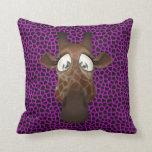 Cute Funny Giraffe Face Purple Animal Fur Pattern Throw Pillow