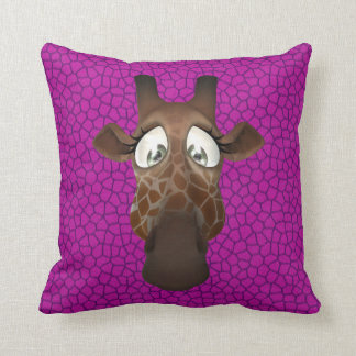 Cute Funny Giraffe Face Purple Pink Animal Fur Throw Pillow