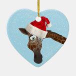 Cute Funny Giraffe in Santa Hat Ceramic Ornament