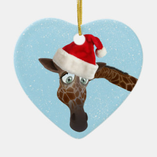 Cute Funny Giraffe in Santa Hat Christmas Ornaments
