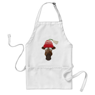 Cute Funny Giraffe in Winter Wool Hat Adult Apron
