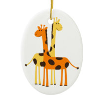 Cute Funny Giraffe Pair Ceramic Ornament