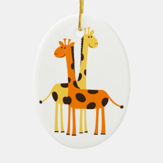 Cute Funny Giraffe Pair Double-Sided Oval Ceramic Christmas Ornament