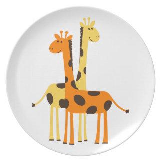 Cute Funny Giraffe Pair Plate