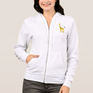 Cute Funny Giraffe Roller Skating Female Hoodie