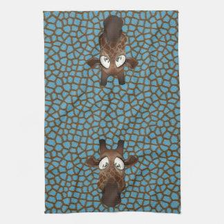 Cute Funny Giraffes Blue Animal Fur Pattern Towel