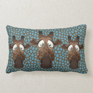 Cute Funny Giraffes Blue Fur Pattern Lumbar Pillow