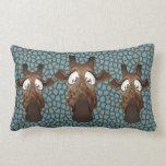 Cute Funny Giraffes Blue Fur Pattern Pillow