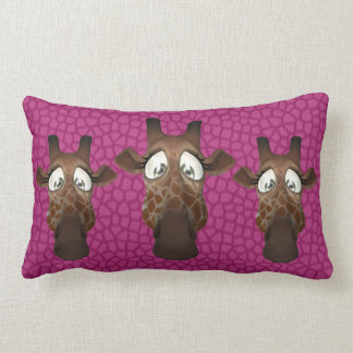 Cute Funny Giraffes Pink Fur Pattern Lumbar Pillow