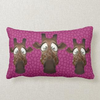 Cute Funny Giraffes Pink Fur Pattern Throw Pillow