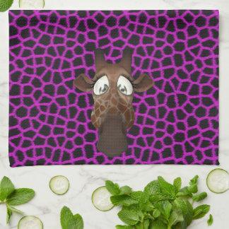 Cute Funny Giraffes Purple Animal Fur Pattern Towel
