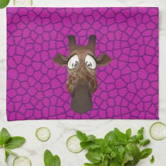 Cute Funny Giraffes Purple Pink Animal Fur Pattern Hand Towel