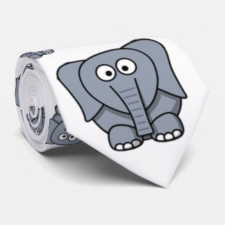 Cute, funny, gray cartoon elephant. tie