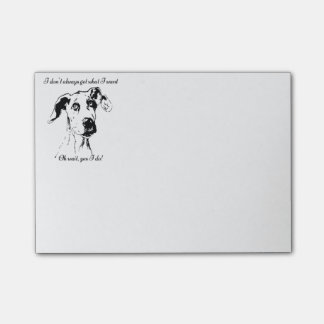 Cute Funny Great Dane Dog Quote  Spoiled Pet Humor Post-it Notes