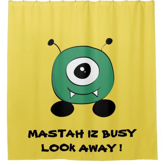 Cute Funny Green Alien Shower Curtain