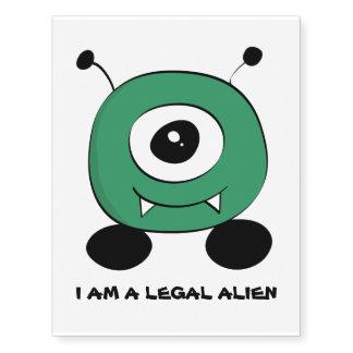 Cute Funny Green Alien Temporary Tattoos