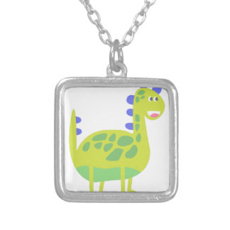 Cute funny green dinosaur silver plated necklace