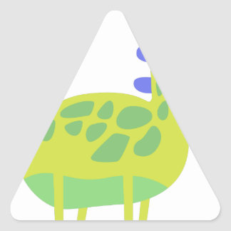 Cute funny green dinosaur triangle sticker