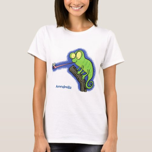 Cute funny green happy chameleon lizard cartoon T_Shirt