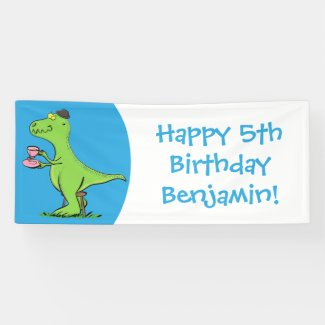 Cute funny green t rex dinosaur cartoon banner