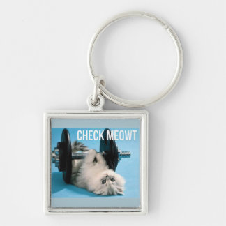 Cute Funny Gym Cat - Check Meowt Keychain