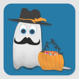 Cute funny Halloween ghost with Cool moustache Square Sticker