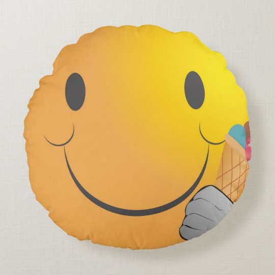 Cute Funny Happy Emoji Eating Ice Cream Round Pillow Zazzlecom