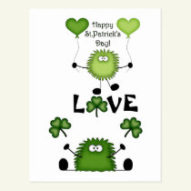 Cute Funny Happy St Patrick's Day Fuzzies LOVE Postcard
