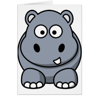 Cute Funny Hippo Greeting Card