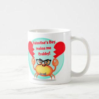 Cute Funny Hipster Crab Anti-Valentine's Day Mug