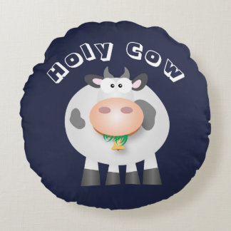 Cute Funny Holy Cow Round Pillow