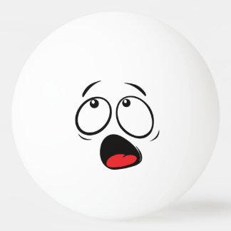 Cute Funny Horrified Smiley. Emoji. Emoticon. Ping-Pong Ball