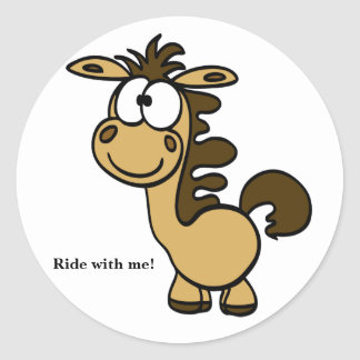 cute funny horse cartoon Ride with me! Classic Round Sticker