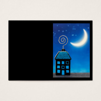 Cute Funny House at Night Business Card