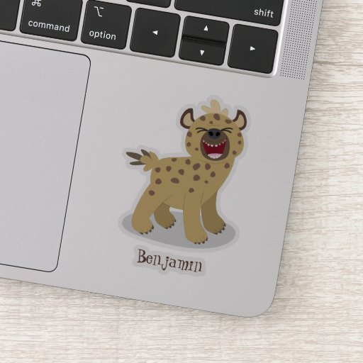 Cute funny hyena laughing cartoon illustration sticker
